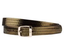 Ledergürtel - schwarz/ gold