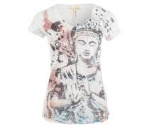 T-Shirt mit Schmucksteinbesatz - weiss