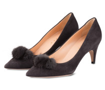 Pumps mit Fell-Pompon - antharzit