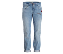 Boyfriend-Jeans mit Patches - blau