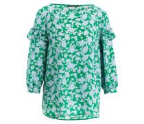 Blusenshirt aus Seide - grün / hellblau