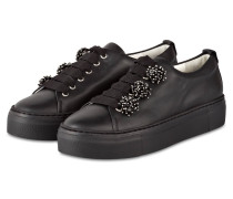 Plateau-Sneaker mit Schmucksteinbesatz