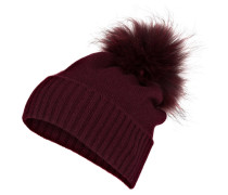 Cashmere-Mütze mit Fellbommel