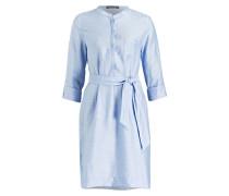 Blusenkleid mit Leinenanteil - blau
