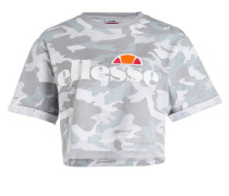 Cropped-Shirt ALBERTA - grau/ weiss