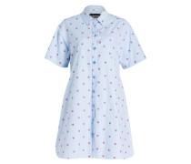 Blusenkleid mit Stickerei - blau