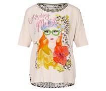 T-Shirt im Materialmix mit Paillettenbesatz