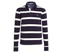 Jersey-Poloshirt - dunkelblau/ weiss