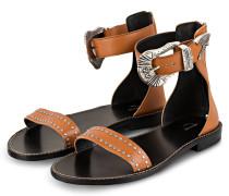 Sandalen EVER mit Nietenbesatz - COGNAC