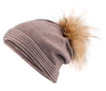 Cashmere-Mütze mit Pelzbommel - taupe