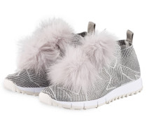 Sneaker NORWAY mit Fell-Pompon - grau