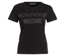 T-Shirt mit Nietenbesatz - schwarz