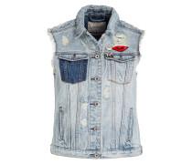 Jeansweste mit Patches - blau