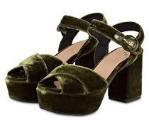 Plateau-Sandalen aus Samt - grün