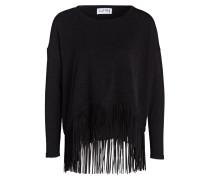 Pullover mit Fransensaum - schwarz