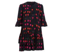 Seidenkleid - schwarz/ rot