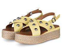 Plateau-Sandalen mit Nietenbesatz - GELB