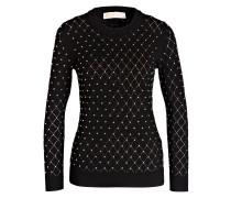 Pullover mit Nietenbesatz - schwarz/ gold