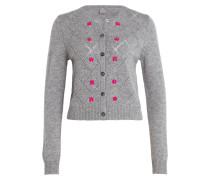 Cashmere-Cardigan - grau/ pink
