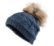 Mütze mit Pelzbommel - blau