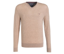 Lambswool-Pullover - sand meliert