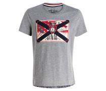 T-Shirt - grau meliert/ rot/ beige