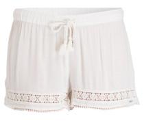 Shorts mit Häkelspitzeneinsatz - weiss