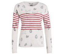 Pullover - creme/ rot