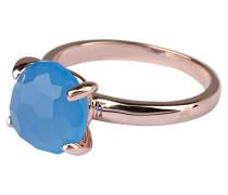 Ring - roségold/ blauer chalcedon