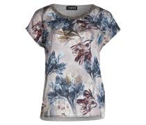T-Shirt im Materialmix - grau/ blau/ oliv