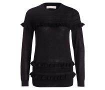 Pullover mit Volants - schwarz