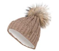 Mütze mit Pelzbommel - beige