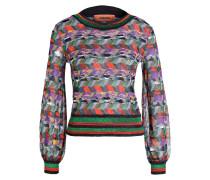 Pullover - grün/ rot/ grau metallic