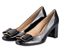 Lack-Pumps - dunkelgrau metallic