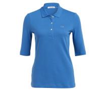 Piqué-Poloshirt mit 3/4-Arm - blau