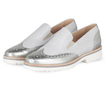 Plateau-Loafer - grau metallic