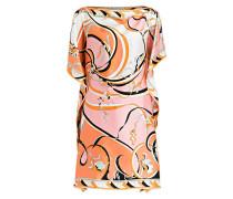 Seidenkleid - orange/ rosa/ weiss