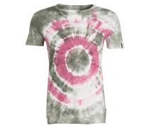 T-Shirt - dunkelgrün/ offwhite/ himbeere