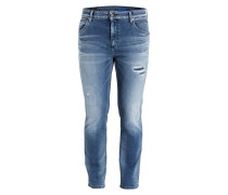 Destroyed-Jeans Slim-Fit - blau