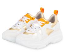 Plateau-Sneaker - WEISS/ GOLD/ NEONORANGE