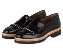 Plateau-Loafer aus Lackleder