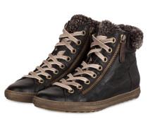 Hightop-Sneaker mit Fellbesatz - schwarz