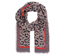 Schal - taupe/ schwarz/ rot