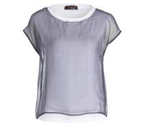 Shirt im Materialmix - weiss