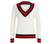Pullover MIKE - ecru/ rot/ schwarz