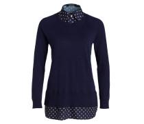 Pullover mit Bluseneinsatz - blau