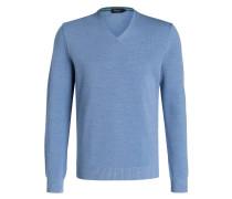 Schurwoll-Pullover - blau