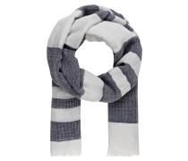 Schal mit Leinenanteil - ecru/ blau