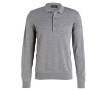 Schurwoll-Pullover mit Polokragen - grau