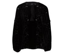 Samt-Bluse mit Seidenanteil - schwarz